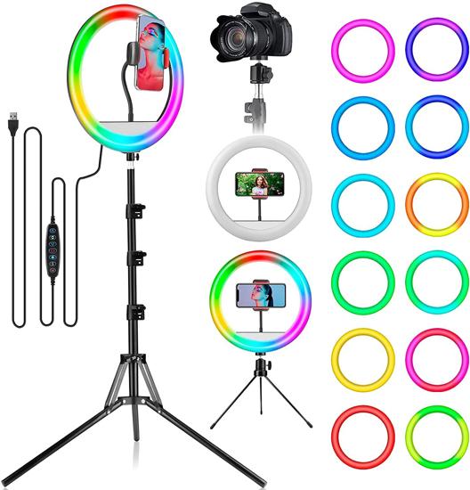 """Image sur Anneau lumineux selfie 10 """", anneaux lumineux RVB avec trépied et support de téléphone portable pour diffusion en direct, maquillage, YouTube, TikTok, photographie, enregistrement vidéo Compatible avec iPhone et téléphone Android"""
