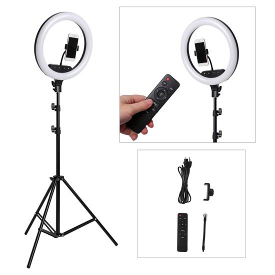 """Image sur Selfie Ring Light """"12""""avec trépied et support de téléphone LED Ring Lights avec 20 modes RVB 13 Luminosité, Dimmable Circle Light avec télécommande pour le maquillage en streaming YouTube Video Tiktok"""