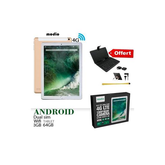 Image sur Tablette Modio M18, Quad Core, Dual Sim, Dual Camera, Tablet PC intelligent de 10,1 pouces, Android 10.1, 64 Go, 3 Go DDR3, 4G LTE, Wi-Fi, + Pochette clavier OFFERT